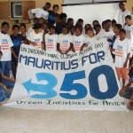 Hhildren of SOS Village showing solidarity by taking picture with the 'Mauritius for 350' banner/350 .org - http://goo.gl/74lkBe